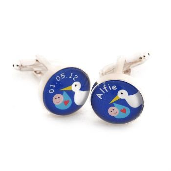 Stork Cufflinks - Personalised New Baby Gift For Dad or Grandad - Baby Keepsake Gift